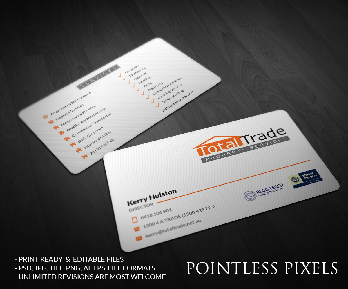 Elegant playful business card design for jodi by pointless pixels business card design by pointless pixels india for total trade property maintenance and construction company require magicingreecefo Images