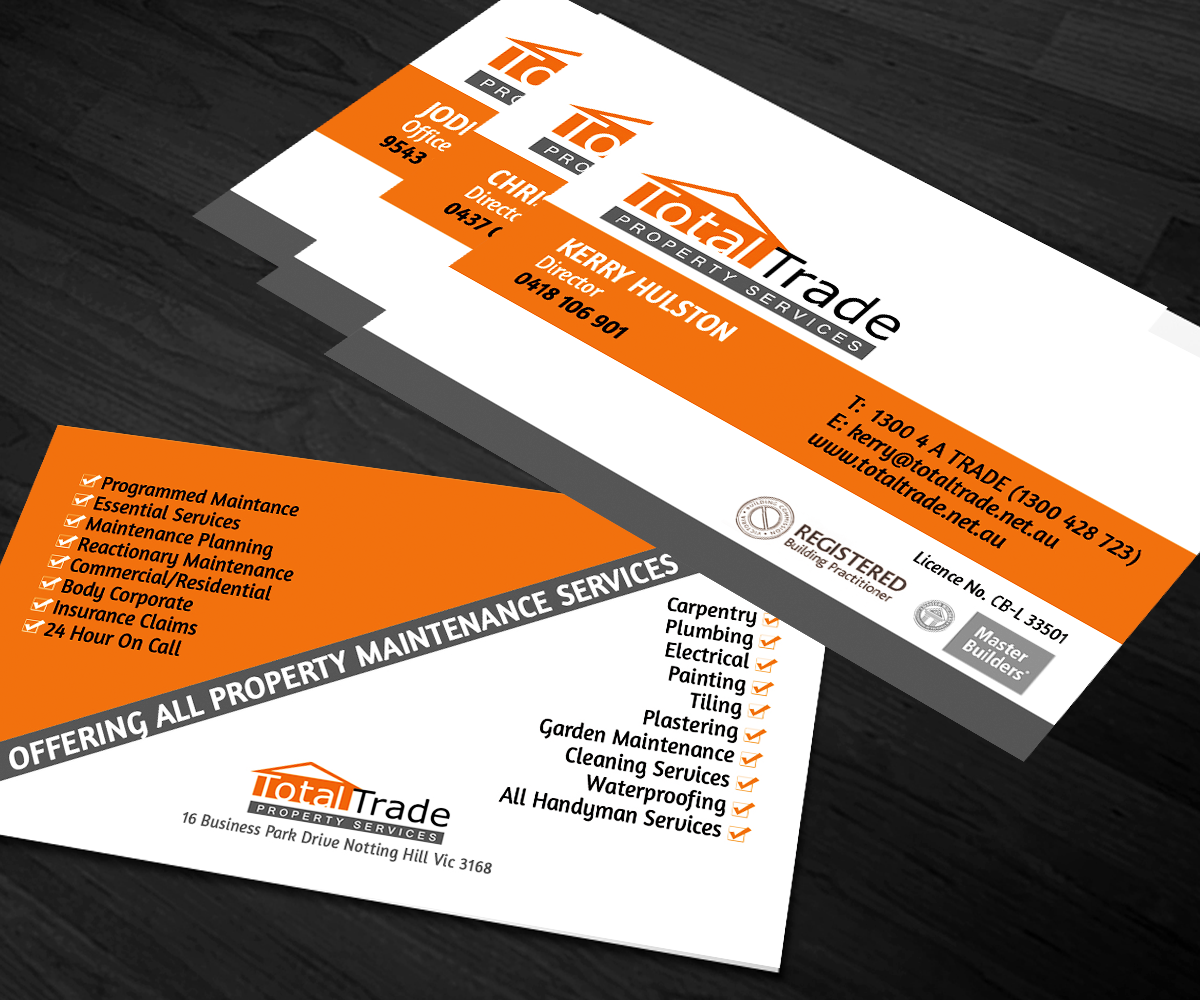 Elegant playful property maintenance business card design for a business card design by sanrell for this project design 5288137 reheart