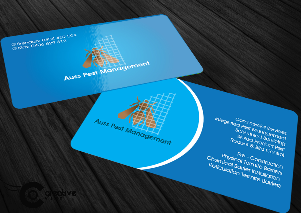 Business Card Design By Creative Vision For Auss Pest Management