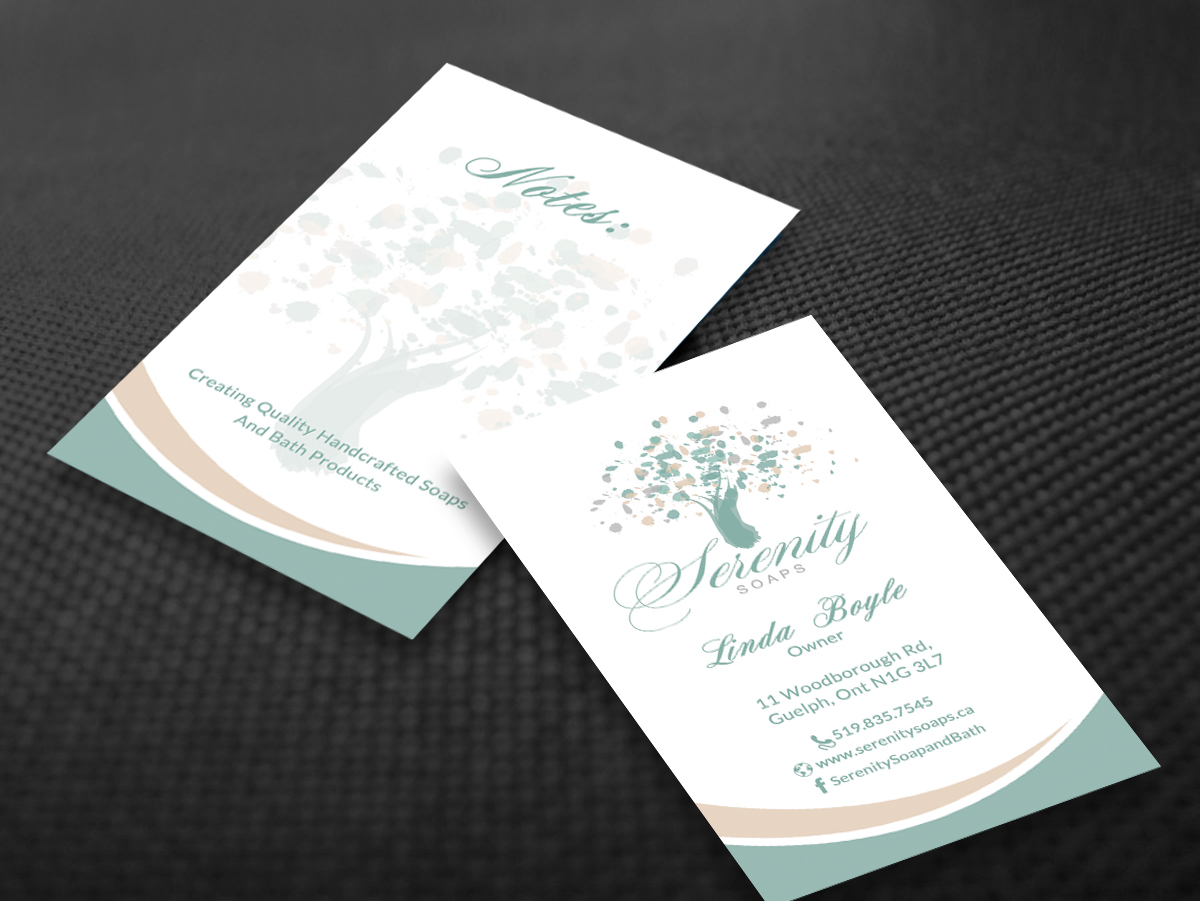 Elegant modern business business card design for serenity soaps by business card design by smart designs for serenity soaps design 5293449 reheart Images
