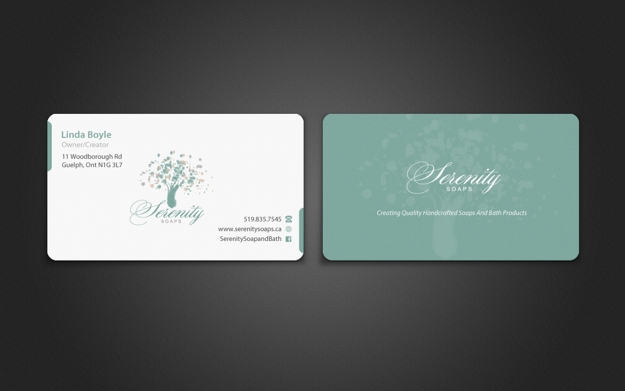 Elegant modern business business card design for serenity soaps by business card design by pixelfountain for serenity soaps design 5290697 reheart Images