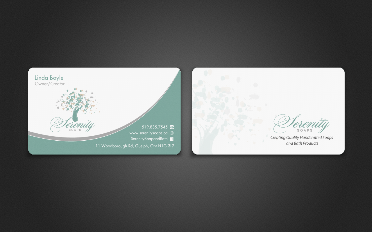 Elegant modern business card design for serenity soaps by business card design by pixelfountain for serenity soaps design 5290706 reheart Gallery