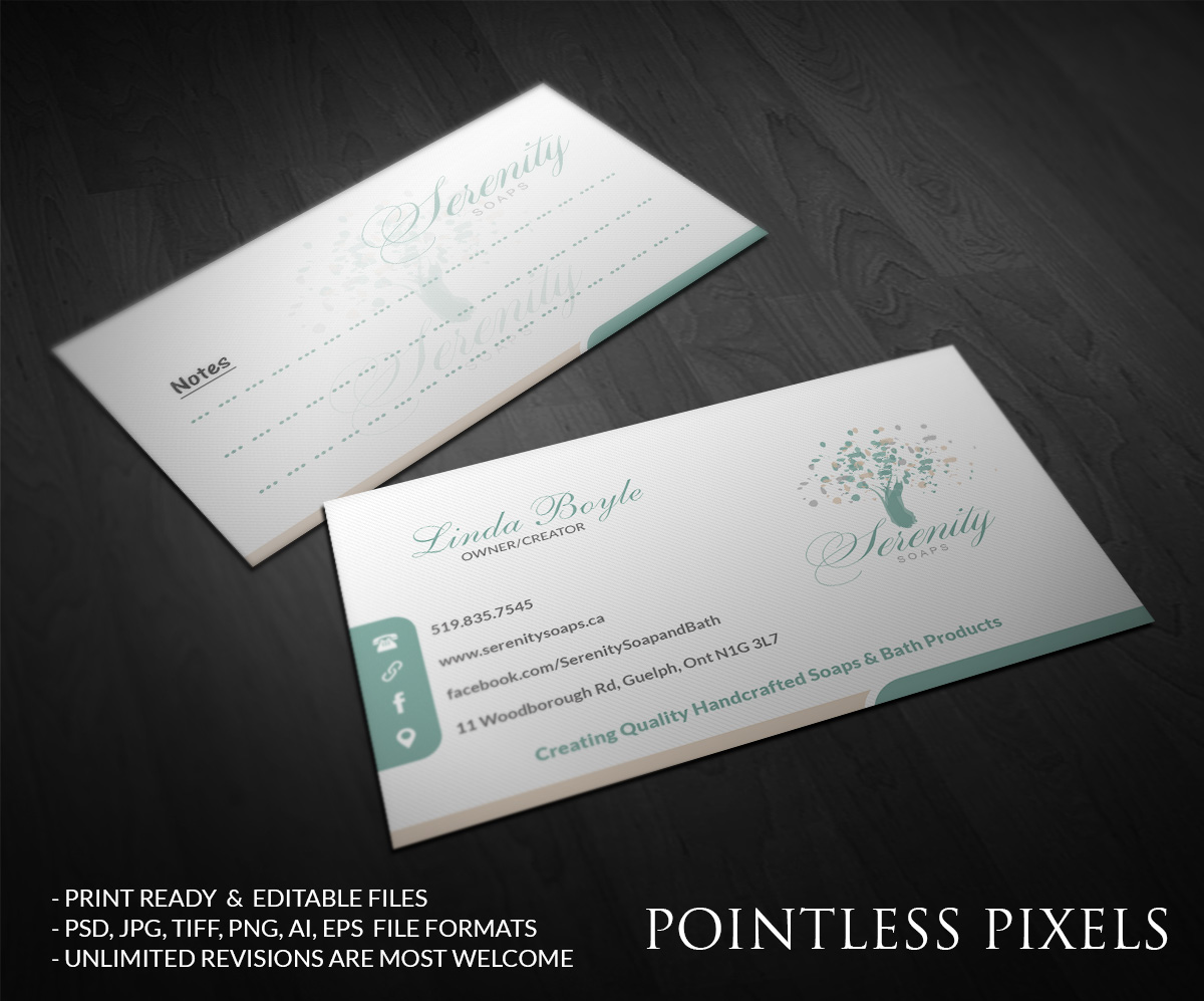 Elegant modern business business card design for serenity soaps by business card design by pointless pixels india for serenity soaps design 5294580 reheart Images