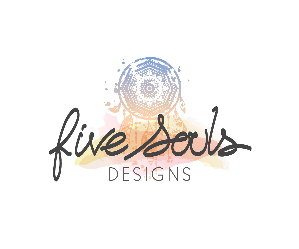 Five Souls Watercolor Logo Design by Davaus For A Jewellery Business