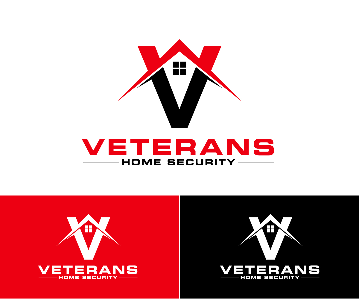 bold serious logo design for veterans home security llc