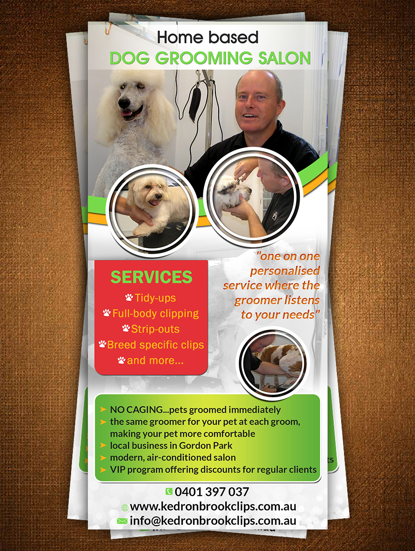 Playful modern flyer design for kedron brook clips by esolz technologies design 5362759 for Action clips grooming salon