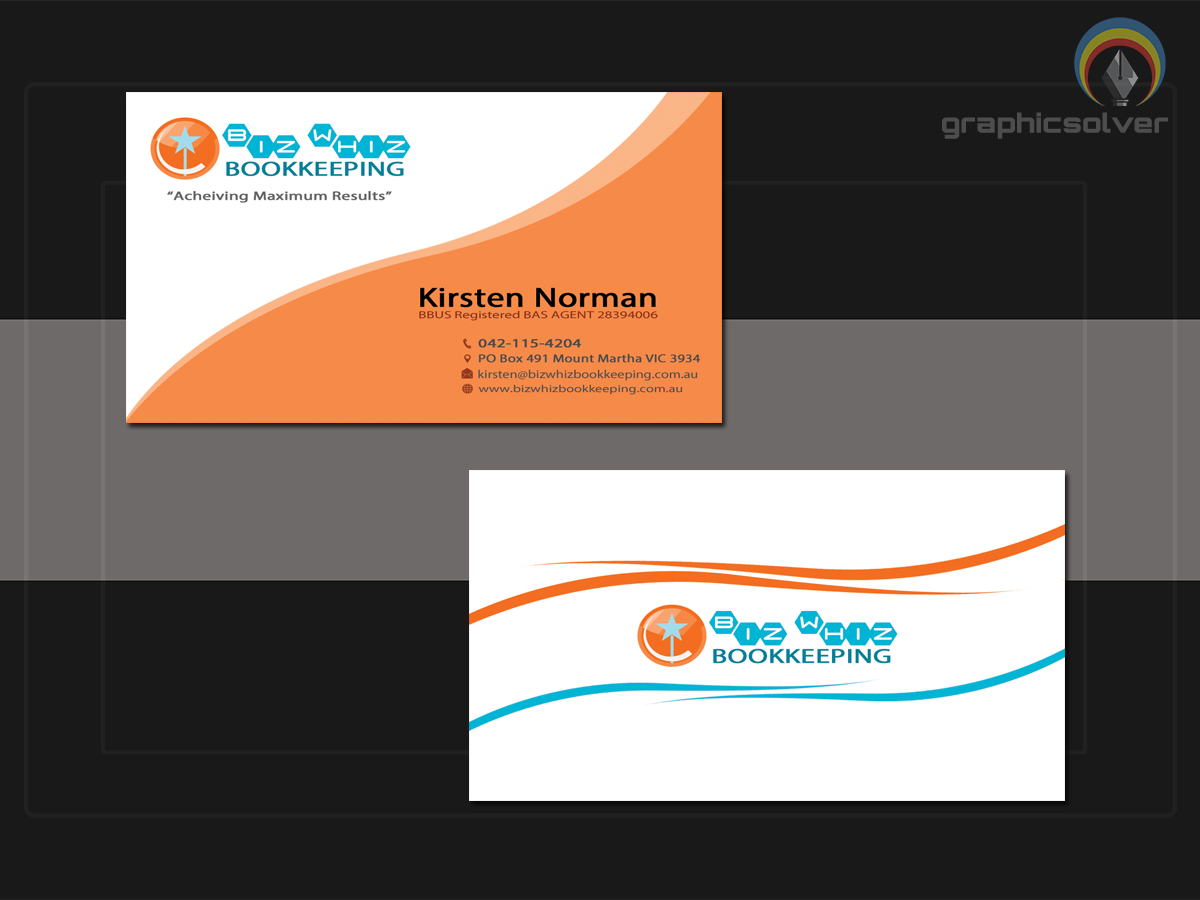 Modern bold business card design for kirsten norman by business card design by graphicsolver for perky professional bookkeeping business card design needed design magicingreecefo Choice Image