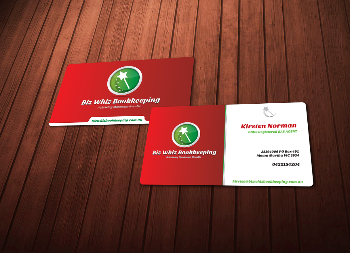 Modern bold business card design for kirsten norman by chere business card design by chere for perky professional bookkeeping business card design needed design magicingreecefo Choice Image
