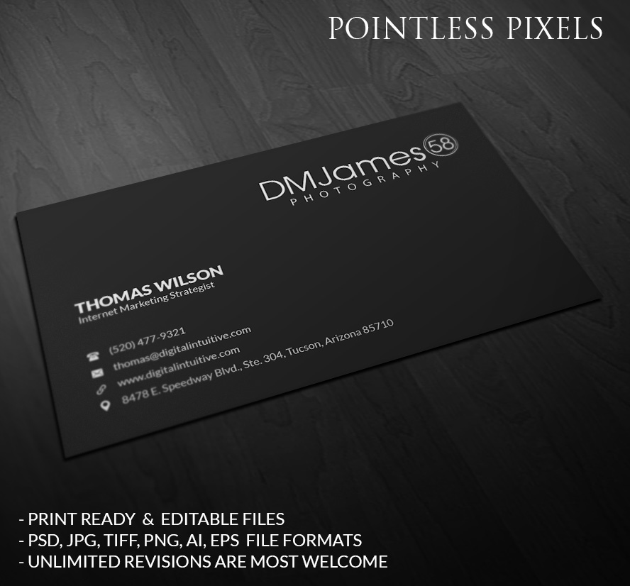 Business card design for david james by pointless pixels india business card design by pointless pixels india for dmjames58 photography design 5345697 reheart Images