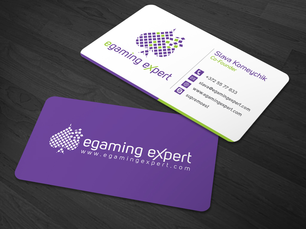 Modern playful logo design for egaming expert by kaatem for Game designer business cards