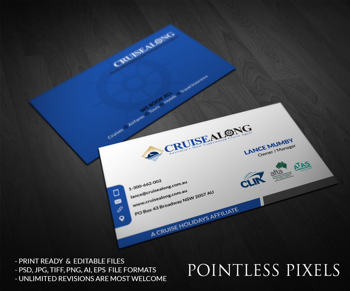 Elegant Playful Insurance Business Card Design For Cruisealong Pty