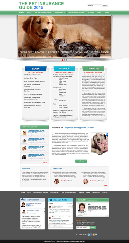 Bold, Serious, Insurance Web Design for Pet Insurance