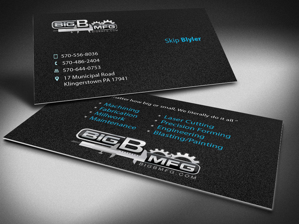Masculine bold business business card design for big b mfg by business card design by selda for big b mfg design 5389397 colourmoves