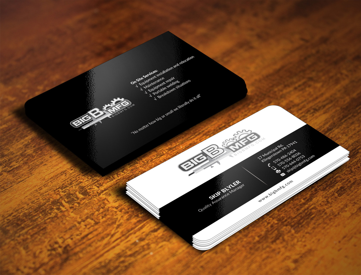 Masculine bold business business card design for big b mfg by business card design by halum420 for big b mfg design 5439863 reheart Image collections