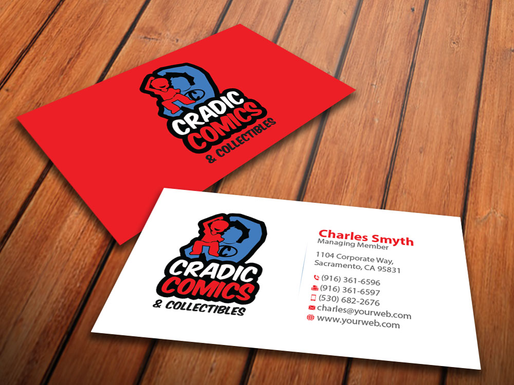 Masculine playful business business card design for cradic comics business card design by mediaproductionart for cradic comics and collectibles design 5396053 colourmoves
