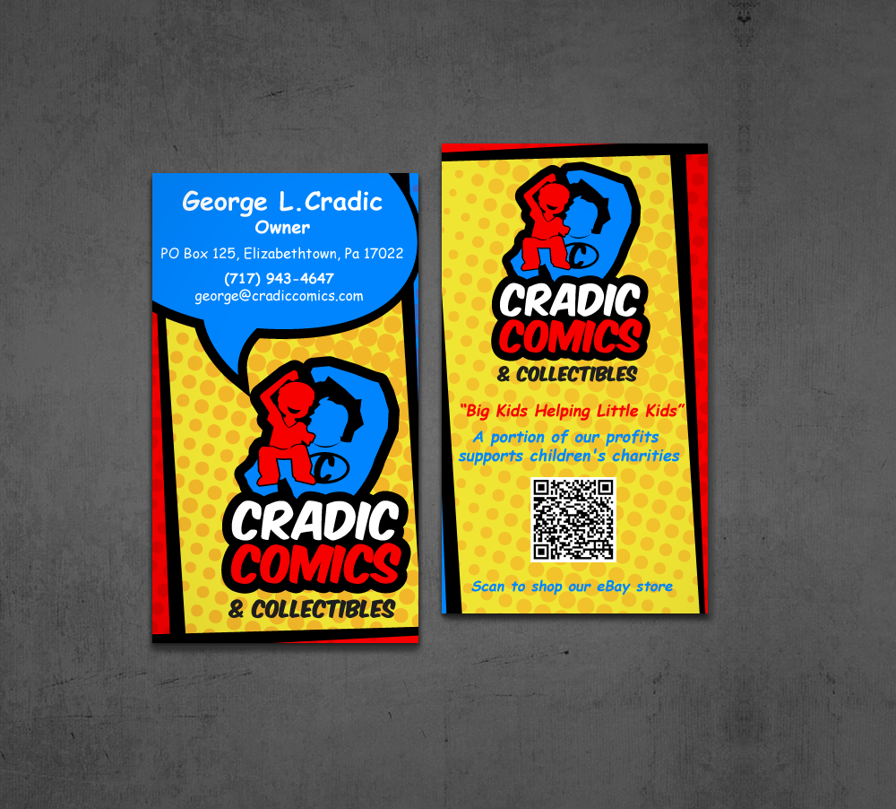 masculine playful business card design for cradic comics and