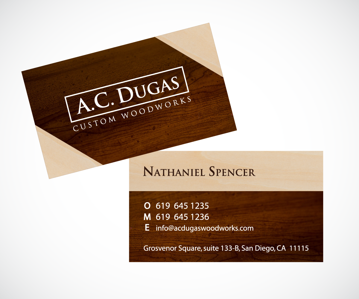 Colorful bold logo and business card design for aaron dugas by logo and business card design by wolf for acdugas custom woodworks inc design magicingreecefo Images