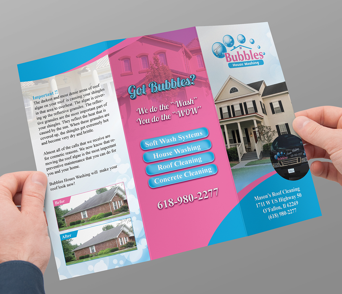 playful colorful house brochure design for bubbles house washing