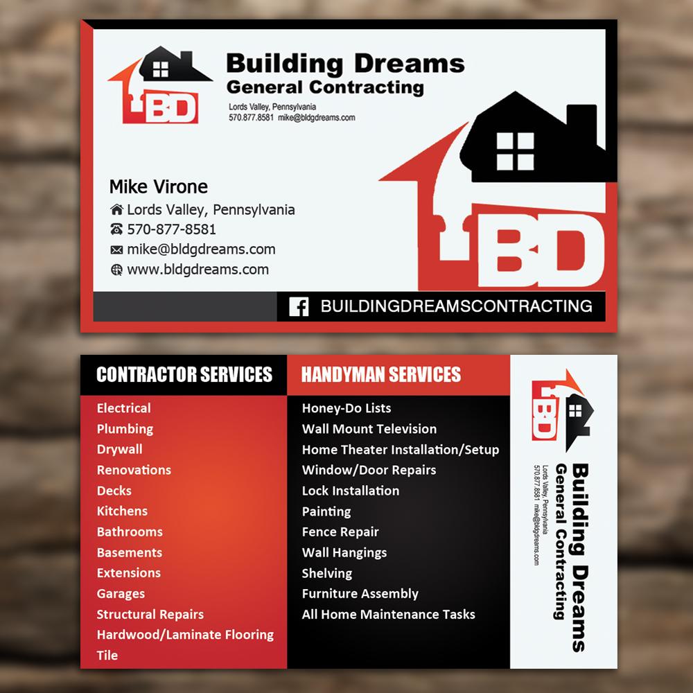 Building Business Card Design for Building Dreams General ...