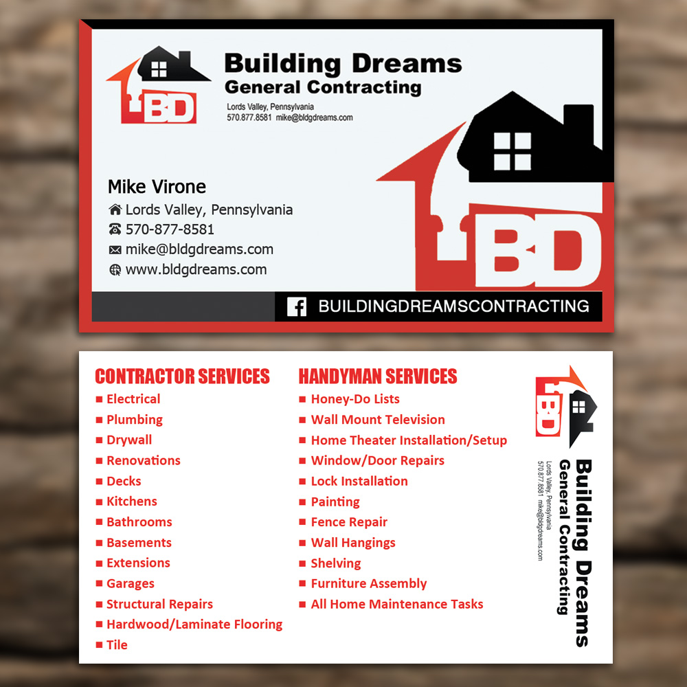 Building Business Card Design For Dreams General Contracting In United States 5447512