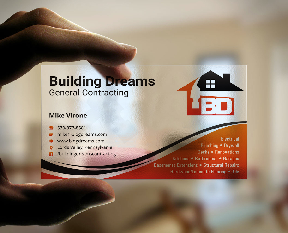 Building Business Card Design For Dreams General Contracting In United States