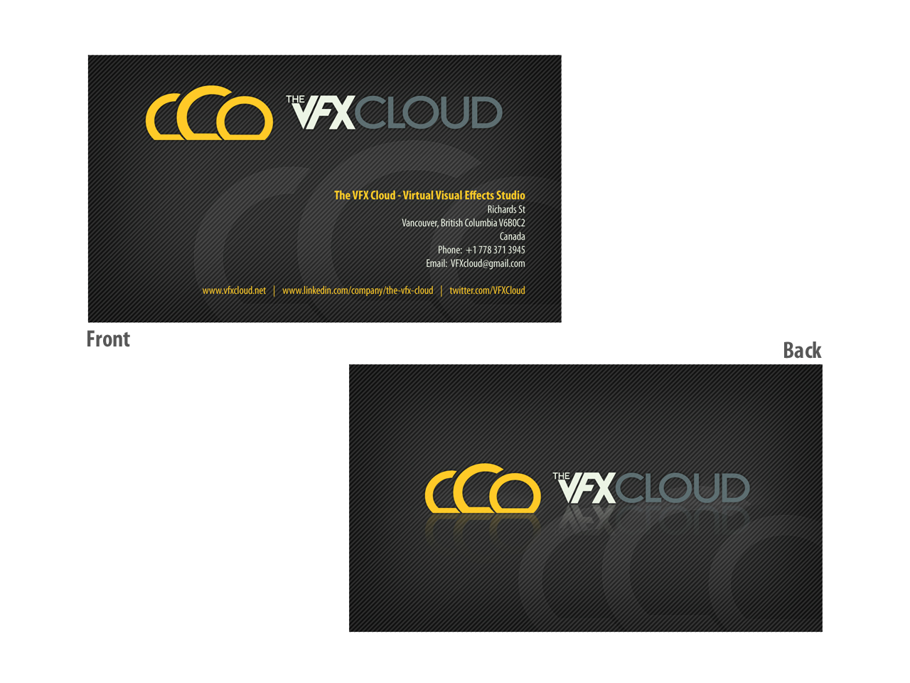 Elegant playful business business card design for the vfx cloud by business card design by totemic studio for the vfx cloud design 1536933 reheart Choice Image