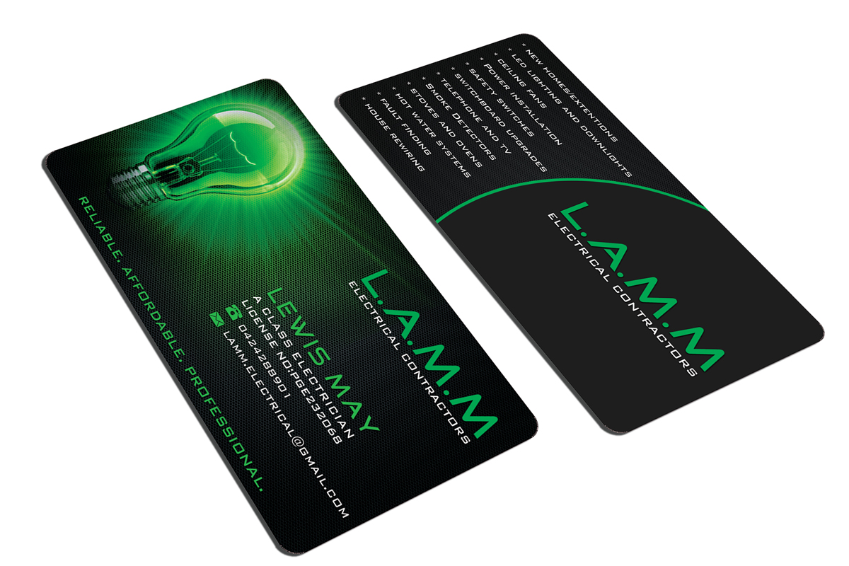 Electrical contractor business card design contest for Electrician business card ideas