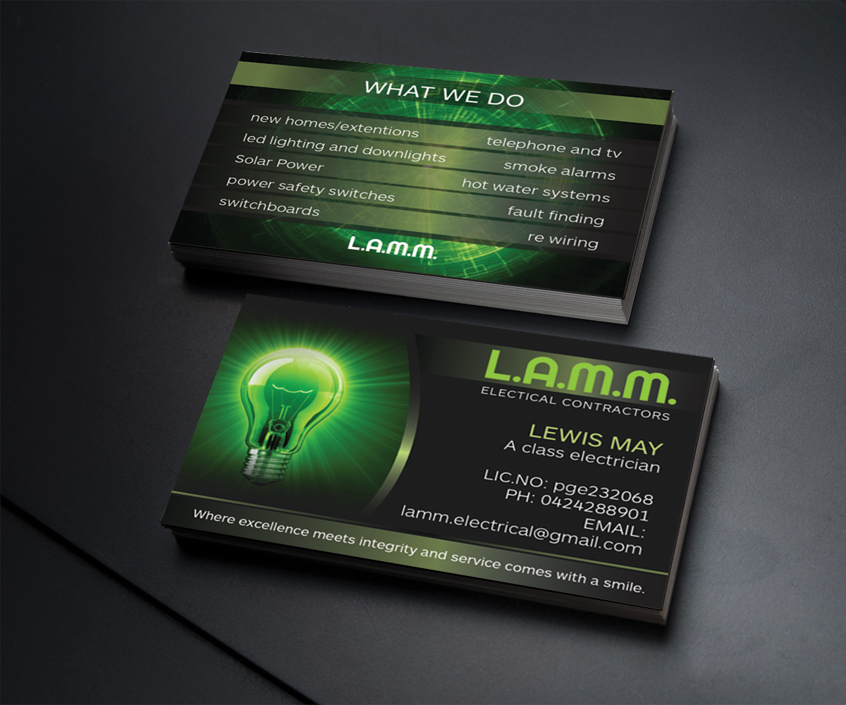 Electrical contractor business cards arts arts contractor business card design for a company by wall jamboree electrical colourmoves