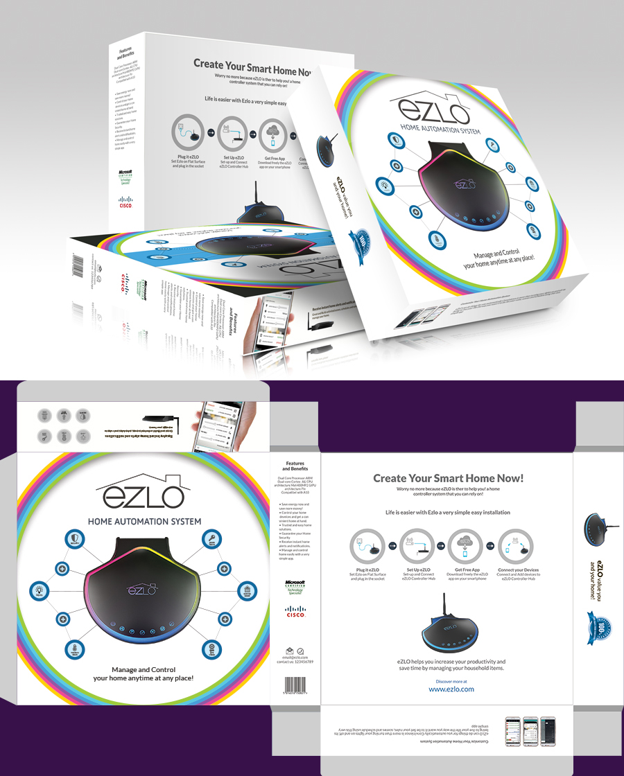 Colorful serious product packaging design for ezlo inc for Product design inc