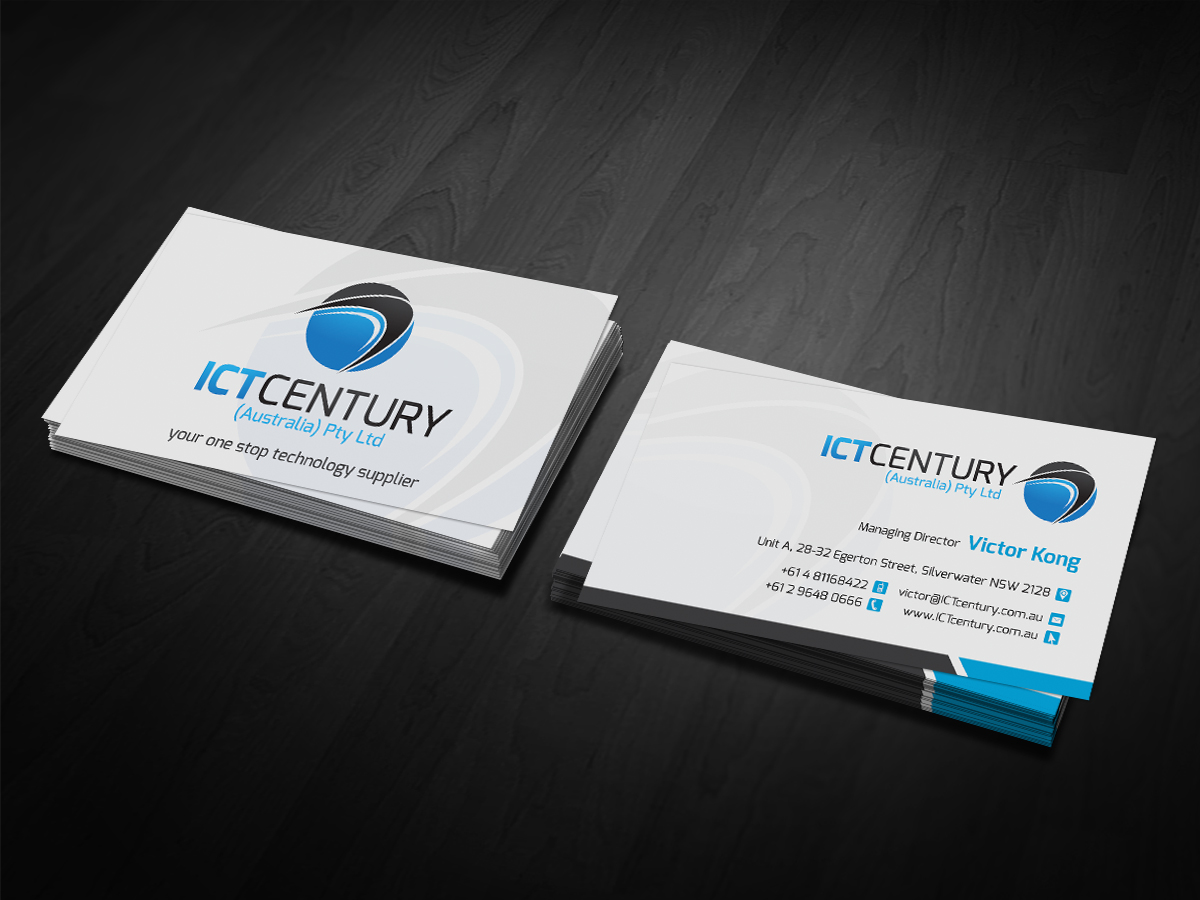 110 conservative business card designs business business card business card design by dirtyemm for ict century australia pty ltd design reheart Choice Image