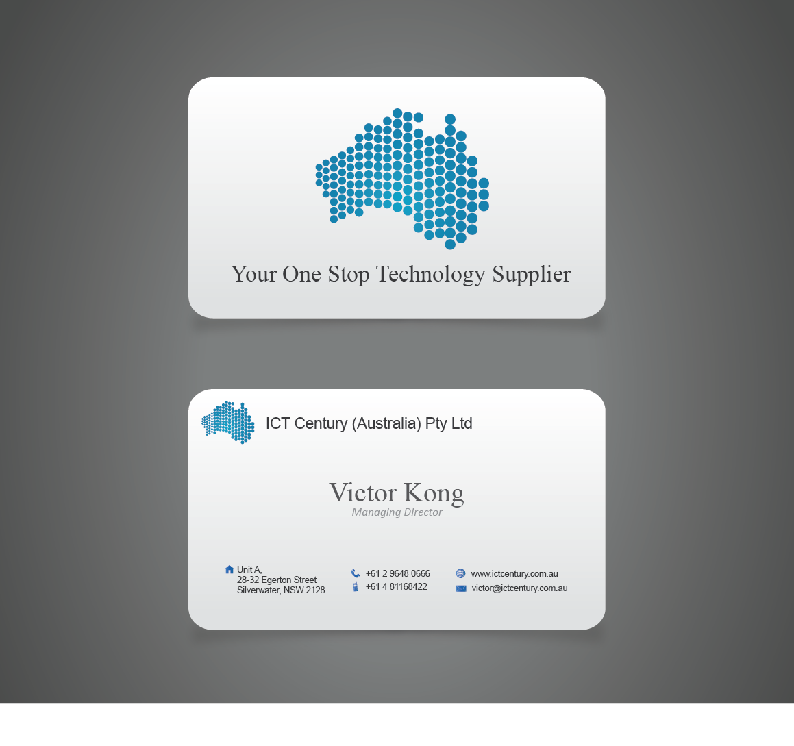 Conservative, Serious, Business Business Card Design for ICT Century ...