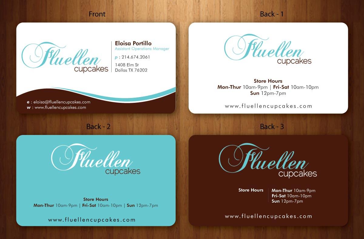 Professional, Upmarket Business Card Design for Fluellen Cupcakes by ...