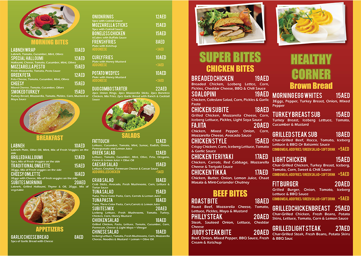 Healthy Restaurant Menu Project