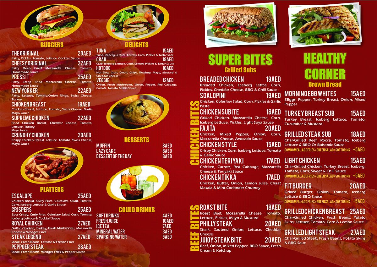 Menu design project for fastfood restaurant